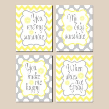 You Are My SUNSHINE Wall Art, SUNSHINE Quote Decor Canvas or Prints Baby Girl Nursery Decor, Yellow Gray Chevron Polka Dots, Set of 4