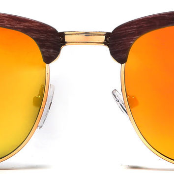 New York Classic Clubmaster Vintage Sunglasses Wood Brown