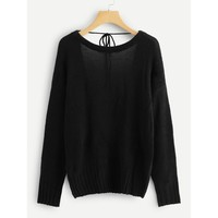Scoop-Back Solid Sweaters