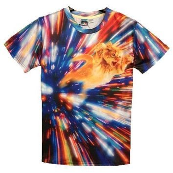 Psychedelic Vortex Kitty Tabby Cat Graphic Print Graphic Tee | Gifts for Cat Lovers