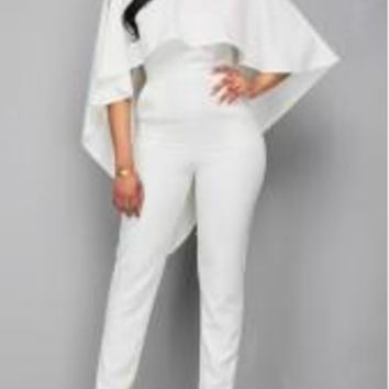 Open Back White Wings Jumpsuit