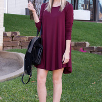 Cara Long Sleeve Shift Dress- Burgundy
