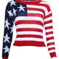 Womens Usa American Jumper Pullover Sweater