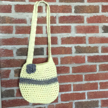 Crochet  Market Bag, Tote Bag, Grocery Bag, Striped tote bag, grey and yellow bag