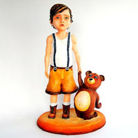 João Meia Lua - Paperclay Sculpture - Handmade / Handpainted / Contemporany / Art / Acrylic Paint / Kid / Children / Teddy Bear / Figure
