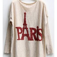 Batwing Sleeves Sweater with Paris Eiffel Tower Print