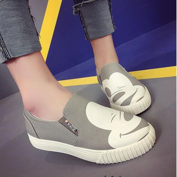 2018 lady spring autumn new women low to help single shoes leisure flats canvas shoes woman casual shoes Mickey female faltshoes