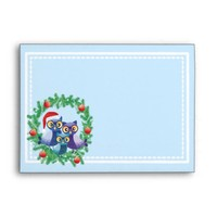 Christmas wreath owls family envelopes