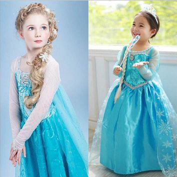 Princess Girl Dress snow queen Cosplay Dress Costume Brand children clothing fantasia infantis vestido Menina baby Kids dresses