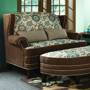 Chelsea Home Cornelious Settee in Voyager Cobblestone - Brown Eyed Girl