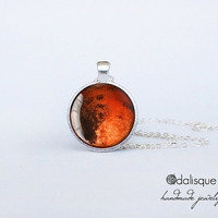 Planet Mars Pendant Handmade Mars Necklace Red Planet Jewelry Birthday Gift Astronomy Outer Space Planet Jewelry Silver