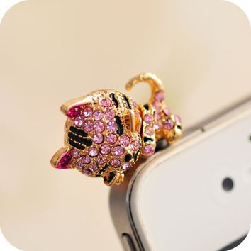 Korea Full of Diamond Cute Jewelry Sleepy Little Cat Phone Dust Plug For Iphone and All 3.5mm Earphone Plug Smart Phone