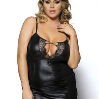 RT70030 Ohyeah brand new hot sale faux leather and lace chemise black plus size women sexy lingerie transparent erotic chemise