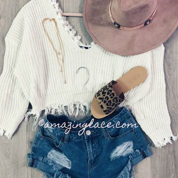 About Time Shredded White V-neck Sweater - Amazing Lace