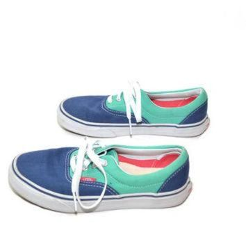 DCCKBWS Vans Tennis Shoes Vans Sneakers Blue and Green Vans Canvas Tennis Shoes 90s Vans Size
