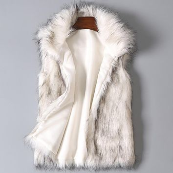 Women's Wool Vest Faux Fur Vest Stand Collar Faux Fur Coat Vest Jacket