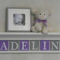 "Purple and Gray Baby Girl Personalized Children Nursery Decor 36"" Linen White Shelf - 10 Wood Letters Custom for MADELINE with Butterflies"