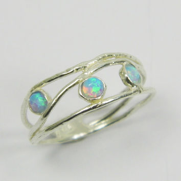 Christmas Sale - Opal ring. Opals sterling silver ring. birthday gift for her, romantic gift ideas, every day rings, opal jewelry