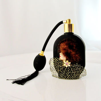 Vintage Perfume Bottle Atomizer Black Burlesque Caboret Diva Perfume Bottle Collectible Gift Item 1358