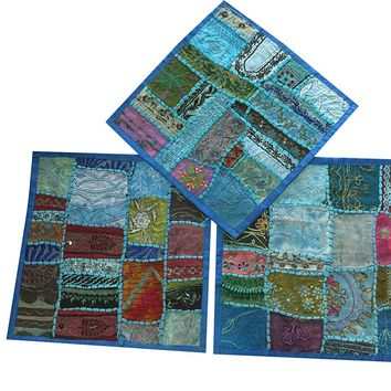 Mogul Blue Pillow Sham Embroidered Patchwork Set Of 3 Throw Cushion Covers: Amazon.ca: Clothing & Accessories