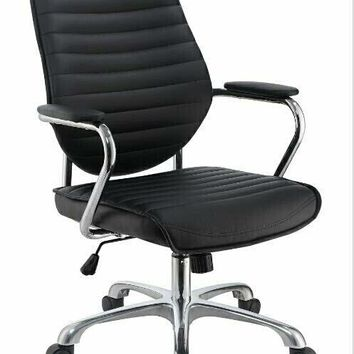 Chrome metal finish and black leatherette upholstered high back tufted office chair
