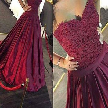 A Line Sweetheart Sweep Train Burgundy Prom Dress with Lace, Maroon Prom Gown, Formal Dress