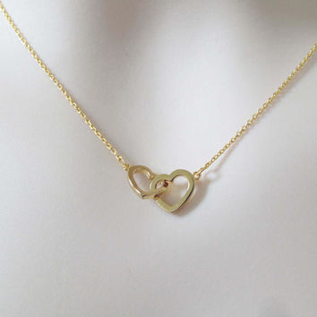 Double, Connecting, Open, Heart, Gold, Silver, Necklace, Lovers, Friends, Mom, Sister, Gift