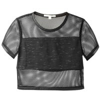 JONATHAN SIMKHAI BLACK FISHNET PANELED CROPPED TOP
