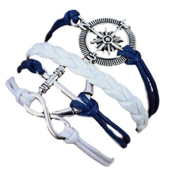 Infinity, Anchor, Nautical Charms Multi Layered Faux Leather Blue/White Wrap Fashion Bracelet