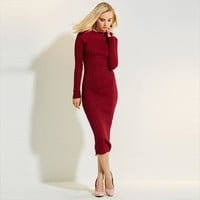 Young17 Autumn Dress Women 2017 Work Red Long Sleeve Bodycon Round Neck