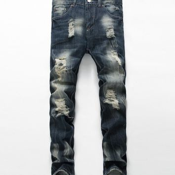 Streetstyle  Casual Stylish Pocket Ripped Light Wash Straight Men's Jean