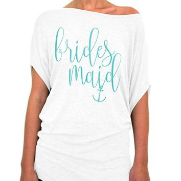 Bridesmaid Shirt, Nautical Script Collection, Beach Wedding, Nautical Theme, Wedding shower, Off the shoulder, Slouchy tee, Bridal Party, Bachelorette Party Gift