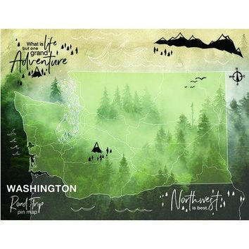 Washington State Road Trip Pin Map Tapestry