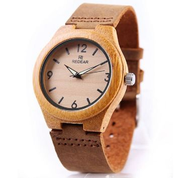 Luminous Hands Bamboo Wooden Watches Genuine Cowhide Leather Wood Watch Men Watch