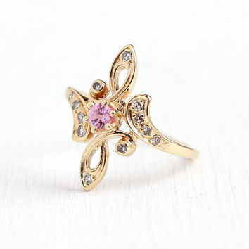 Pink Sapphire Ring - Estate 14k Rosy Yellow Gold Genuine Gem & Diamond Shield Statement - Vintage Size 6 1/2 Statement .27 CTW Fine Jewelry