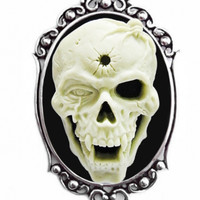 """Shotgun Skull"" Cameo Necklace by Couture by Lolita (Black)"