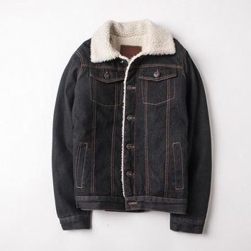 Single Breasted Denim Jacket With Sherpa Lining