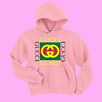 GUCCI men and women tide fashion printing long-sleeved shirt hooded sweater pullover F