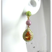 Amber and Green Rhinestone Topaz Drop Earrings 7-13
