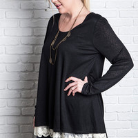 Cat Long Sleeve Knit Top with Lace XL to 2XL