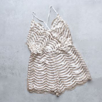 gold rush open back sequin romper
