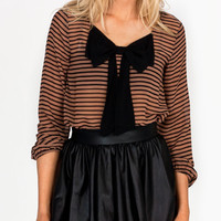 striped-bow-accented-blouse BLACKTAUPE - GoJane.com