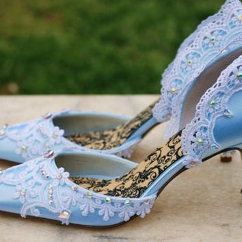 Blue bridal shoes the Cinderella by TheCrystalSlipper on Etsy