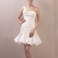 Elegant Taffeta One Shoulder Trumpet/Mermaid Wedding Dresses With Crumb Catcher YSP0055 | $124.59 | Maryswill.com.