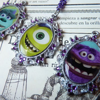 Sulley James. P Sullivan, Mike Wazowski Art Furry Purple Monsters INC University Pixar Necklace