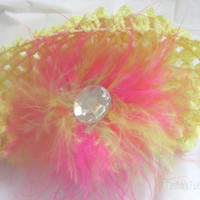 Pink and Yellow Fuzzy Baby Headband