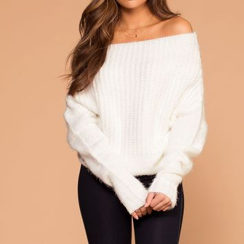Laurel Ivory Off The Shoulder Knit Sweater