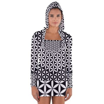 Flower Of Life Pattern Black White 1 Long Sleeve Hooded T-shirt
