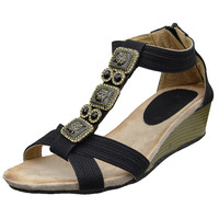 Womens Platform Sandals Beaded Bohemian Style Thong Wedge Sandals Black SZ
