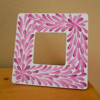 Painted Frame Fuchsia and White Flower Aboriginal by Acires